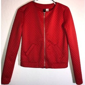 Red quilted Long sleeve zipper jacket